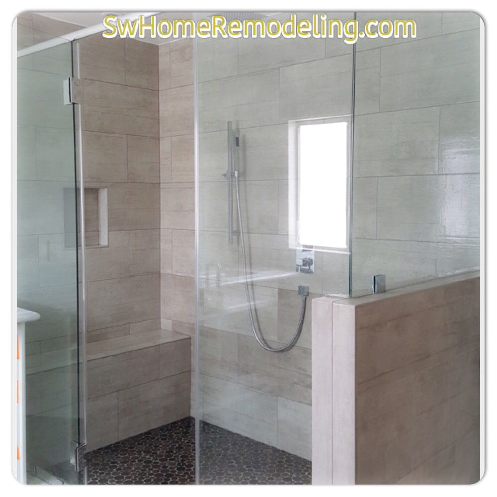 Bathroom remodel using porcelain tile. Free consult and ...