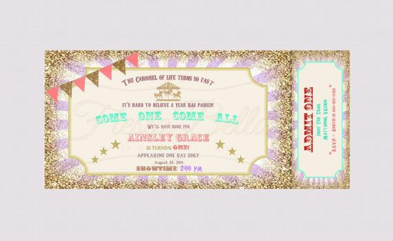 carousel carnival ticket style invitation lavender purple gold