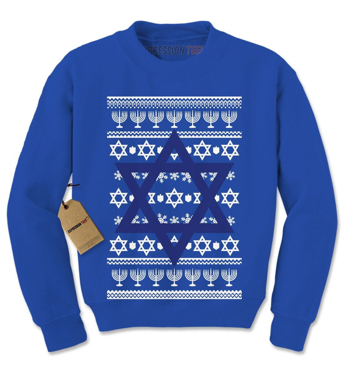 Jewish Christmas Sweater.Jewish Star Of David Ugly Hanukkha Adult Crewneck Sweatshirt