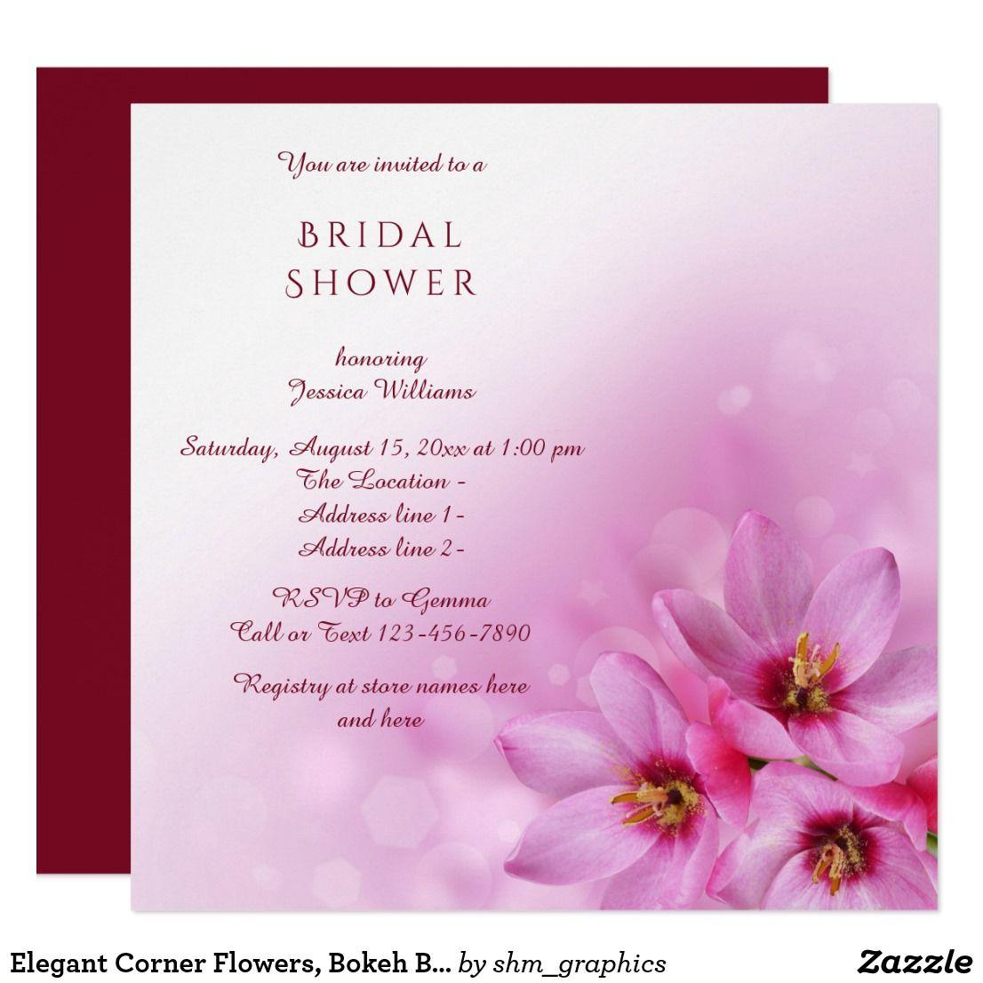 Bokeh Flowers Wedding: Elegant Corner Flowers, Bokeh Bridal Shower Party
