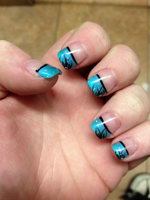 Blue And Black Leaf Design Nails Nail Designs In 2018 Pinterest