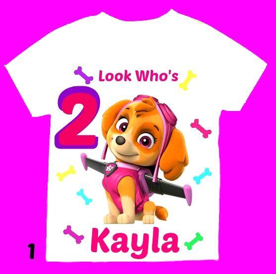 paw patrol skye personalized girl birthday shirt long
