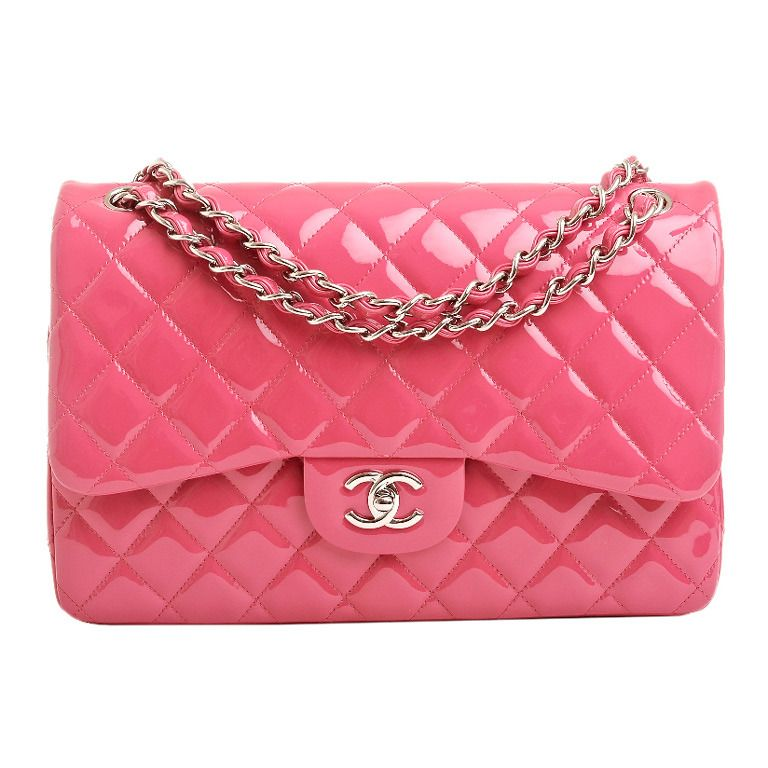 cd6448fe0a01 Chanel Fuchsia Pink Quilted Patent Jumbo Classic Double Flap Bag ...