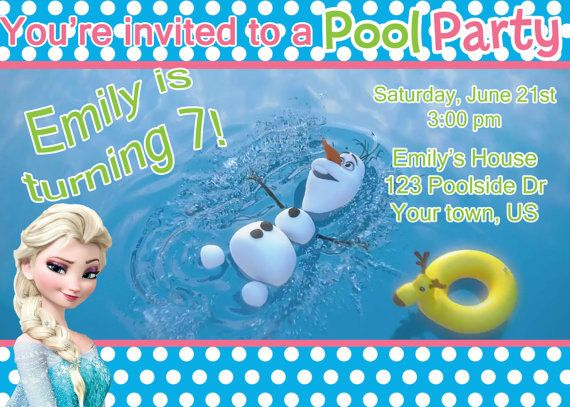 Frozen Pool Party Invitation Elsa by DesignsbyCarrieLee on Etsy