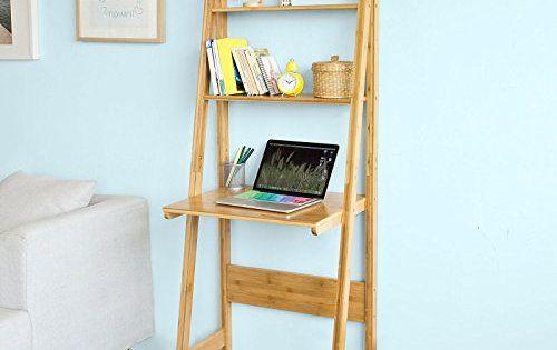 Sobuy® frg60 b n bureau table étagère style échelle de 2 tablettes