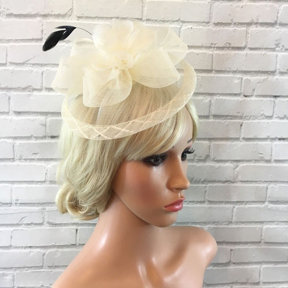 Black & Cream Fascinator Headband with Organza Flower