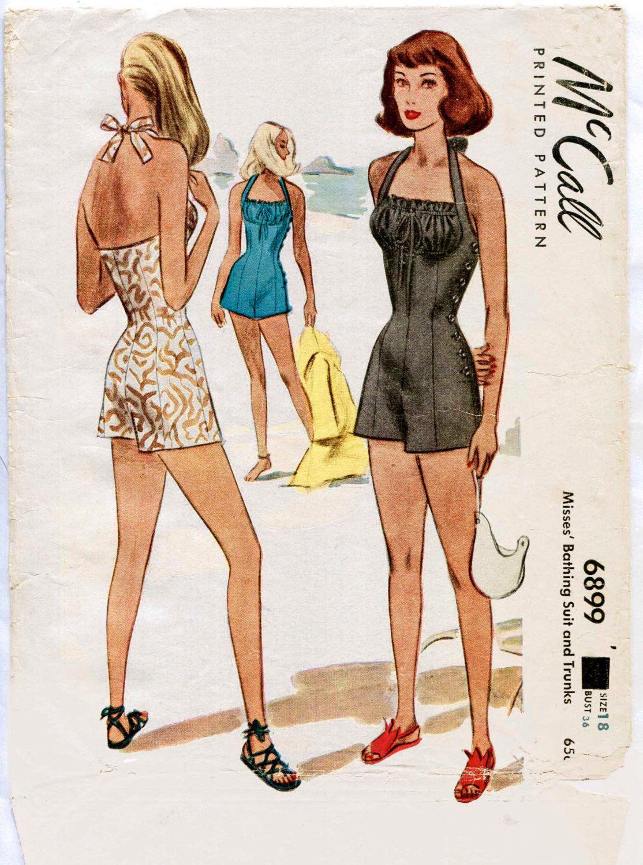 1940s 40s vintage swimsuit sewing pattern bikini halter high waist 1940s 40s vintage swimsuit sewing pattern bikini halter high waist shorts beach jacket bust 32 jeuxipadfo Gallery