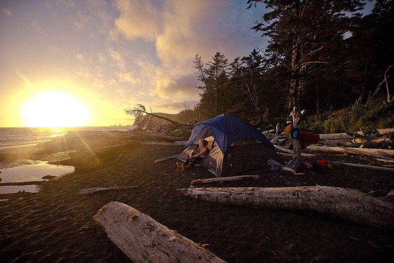 Camp on the beach in Olympic National Park, Washington State