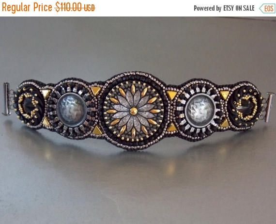 Check out Summer sale Free Shipping , Bead Embroidery, Bracelet, Statement cuff,  Seed bead bracelet,  Czech glass buttons, Metal button, Swarovski, B on vicus