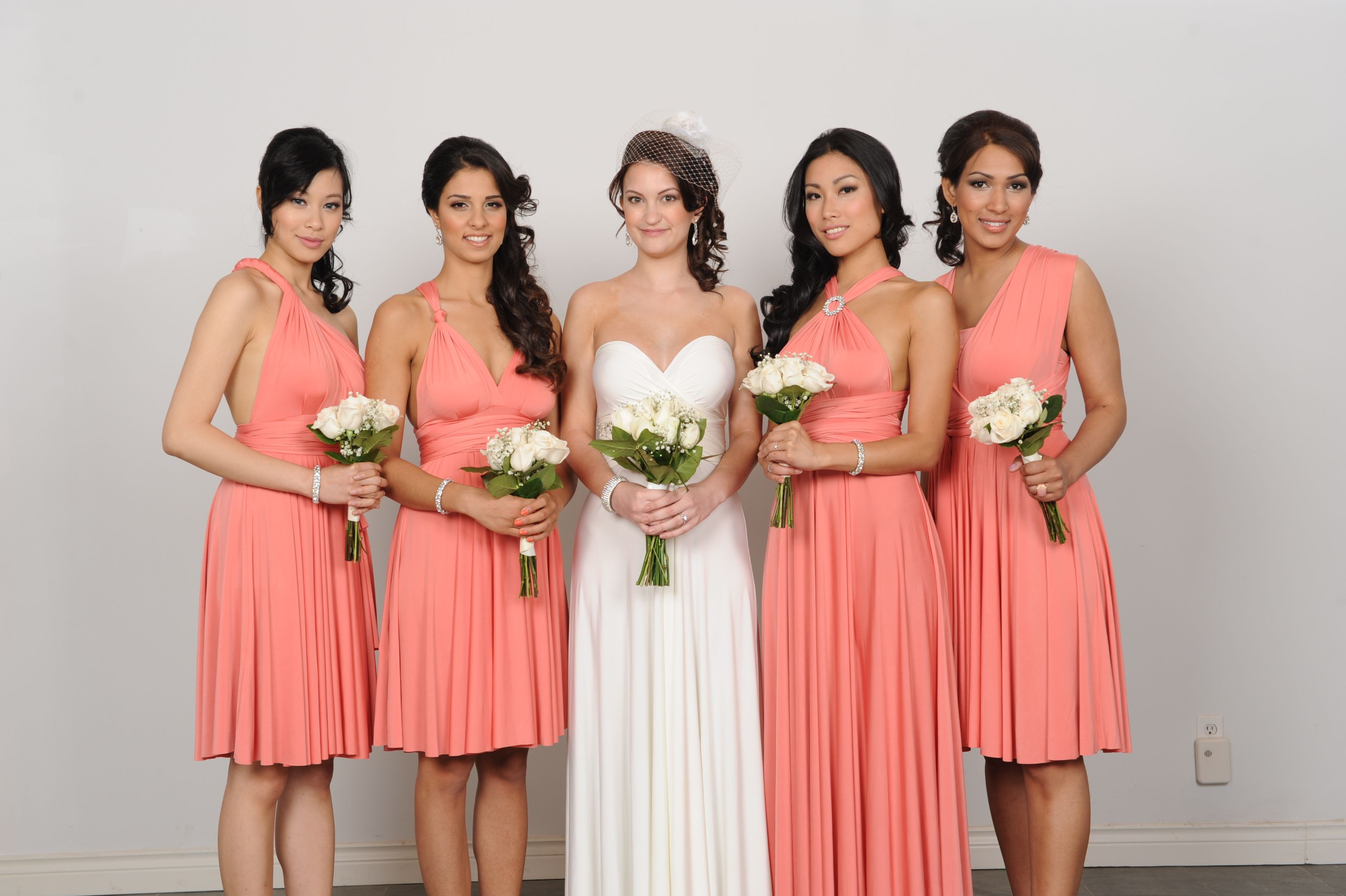Henkaa convertible bridesmaid dresses and long gown in peach pink henkaa convertible bridesmaid dresses and long gown in peach pink coral and pure ivory ombrellifo Gallery