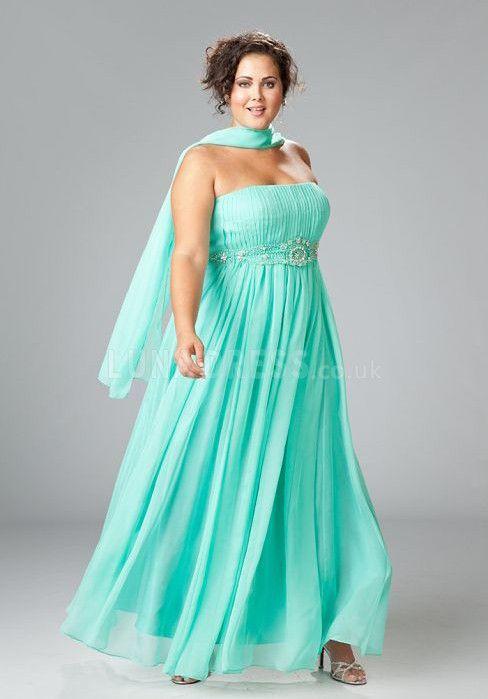 Faddish Chiffon A line With Beading Strapless Plus Size Birdesmaid Dress  #plussizebridesmaids  #wedding