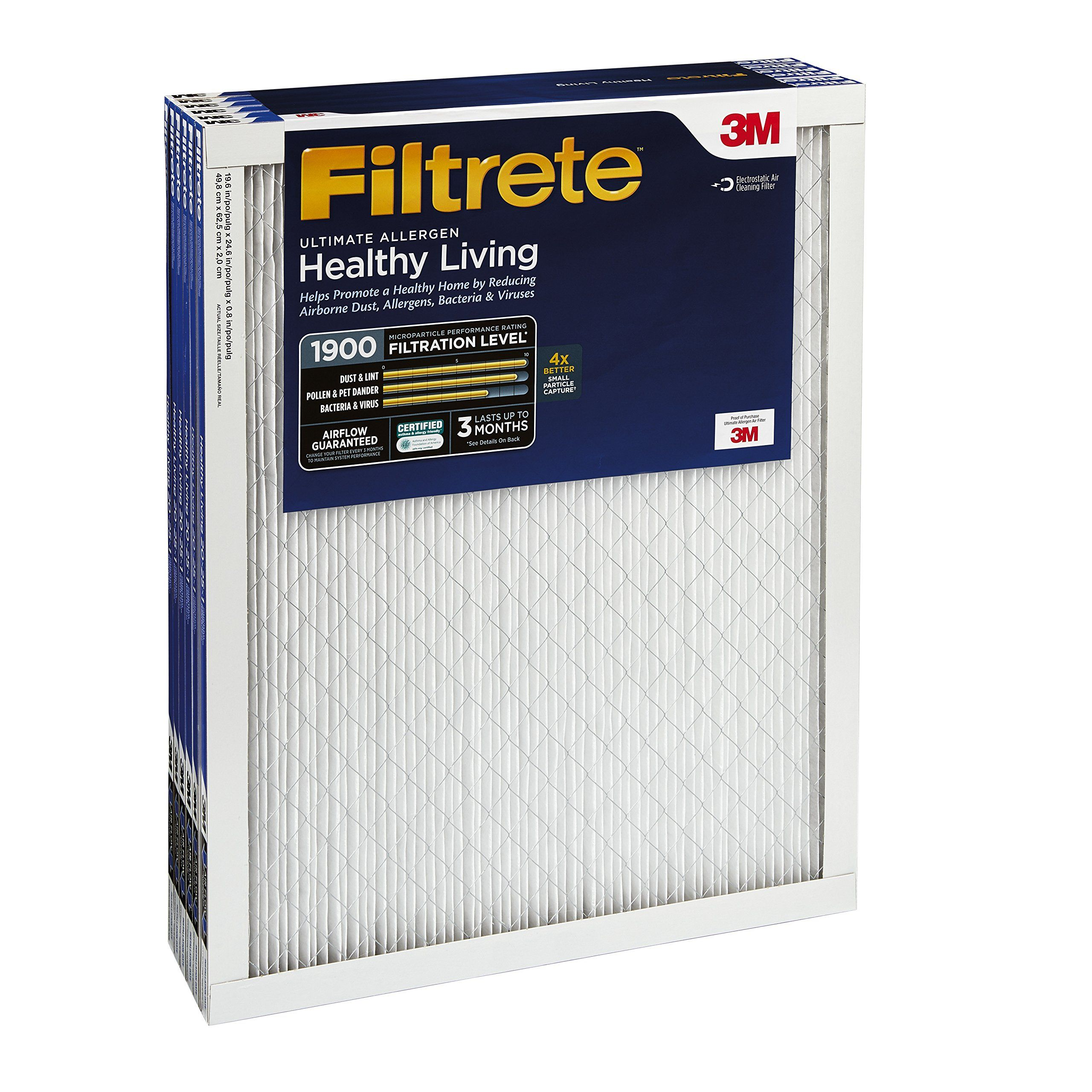 Filtrete Mpr 1900 24 X 30 X 1 Healthy Living Ultimate Allergen Reduction Hvac Air Filter Attracts Microscopic Particles Like Hvac Air Ac Furnace Healthy Living