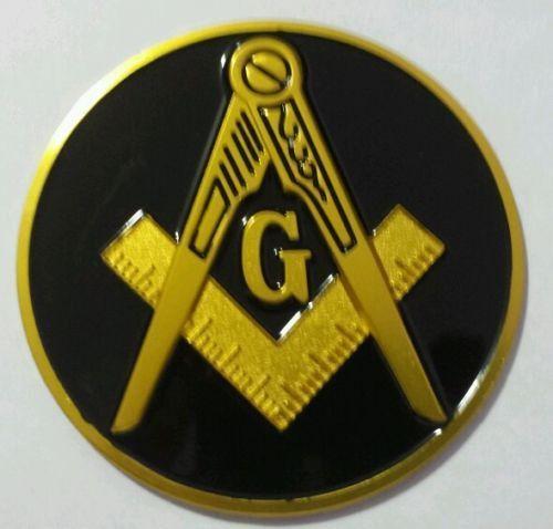 Freemason Masonic Cut-Out Car Emblem GOLD //// BLACK