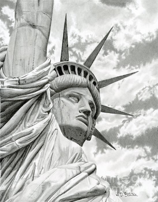 7324258330452 Title Lady Liberty Artist Sarah Batalka Medium Drawing - Graphite Pencil On  Bristol Board