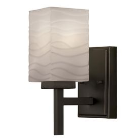 4 49 In W 1 Light Bronze Arm Hardwired Wall Sconce Main Bathroom