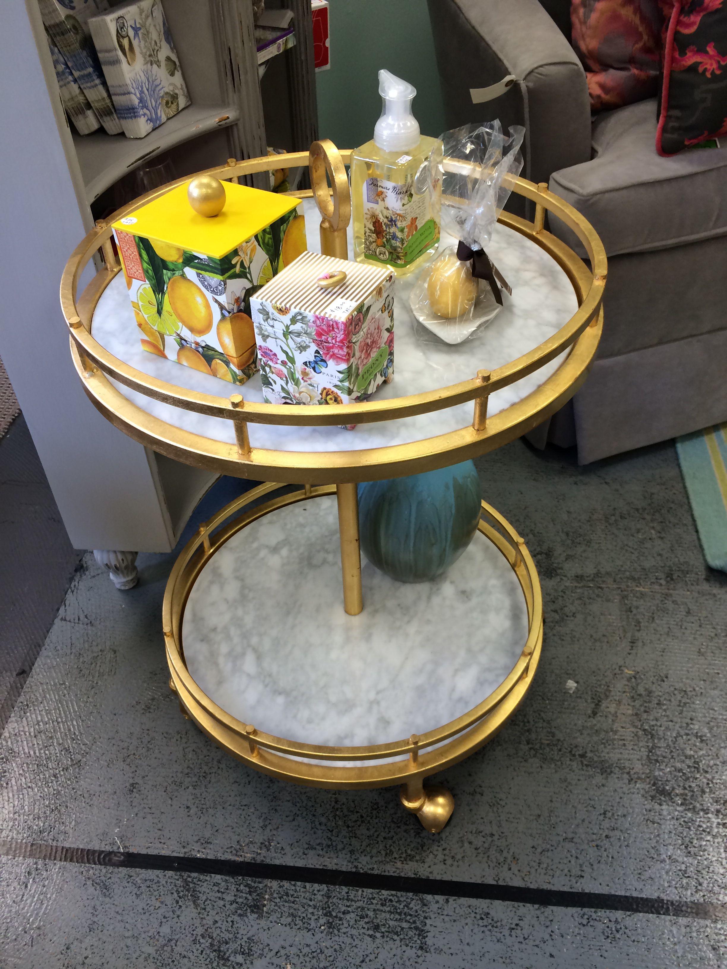 Bar cart gold bamboo with white Carrara