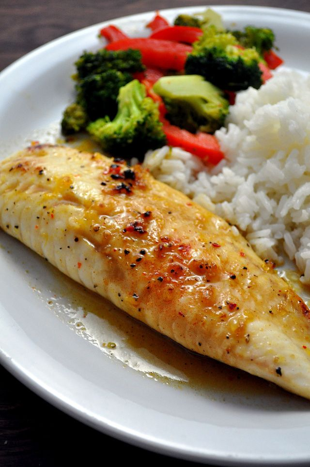 Sweet & Spicy Tilapia •4 6oz Tilapia Loins  •1 orange, juiced  •1/2 lime, juiced  •1 tablespoon local honey  •1 tablespoon extra virgin olive oil  •3 garlic cloves, minced  •2 teaspoons low-sodium soy sauce  •1/2 teaspoon salt  •1/2 teaspoon cumin  •1/4 teaspoon black pepper  •pinch red pepper flakes  •cooking spray Mix everything together except fish-marinade fish then cook fish in glass baking dish according to directions. Use marinade as a glaze after you reduce it.
