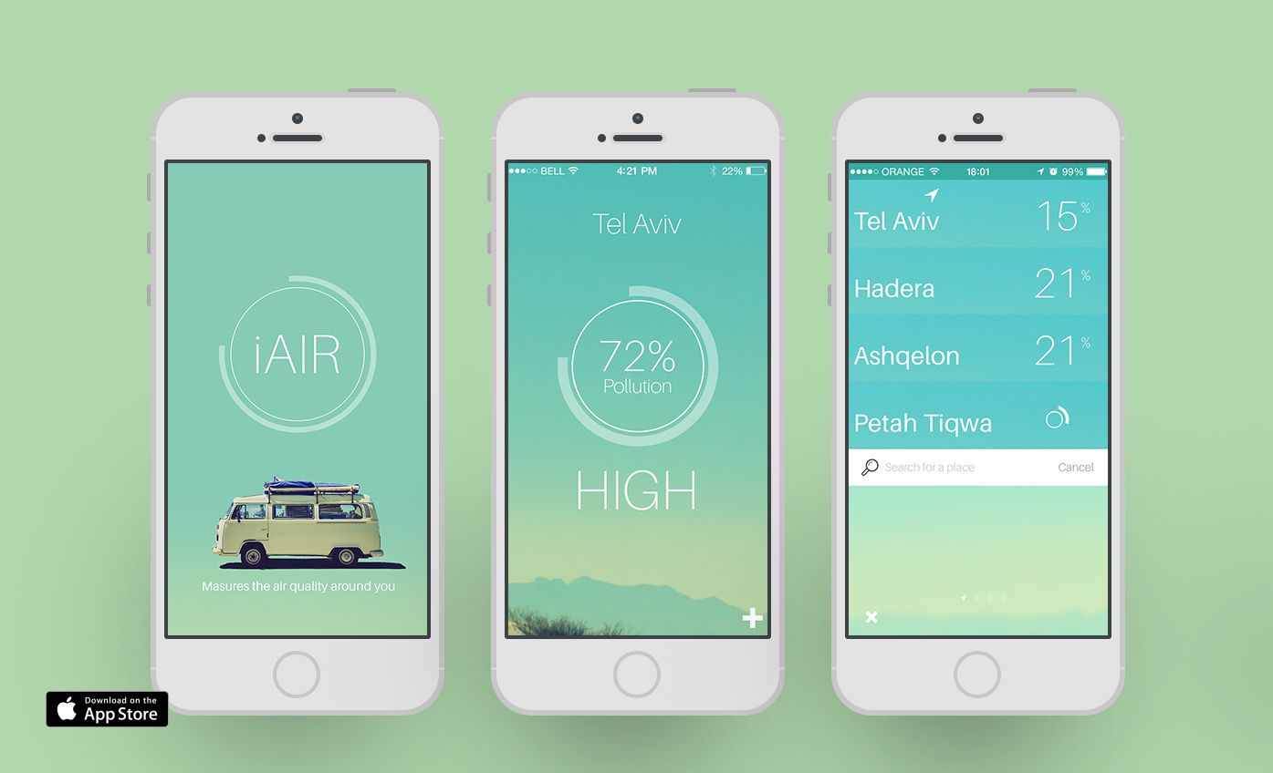 iAIR | Eran Bar iPhone air pollution app (mobile)  measures the amount of air pollution around you, displays data visualization using pie chart