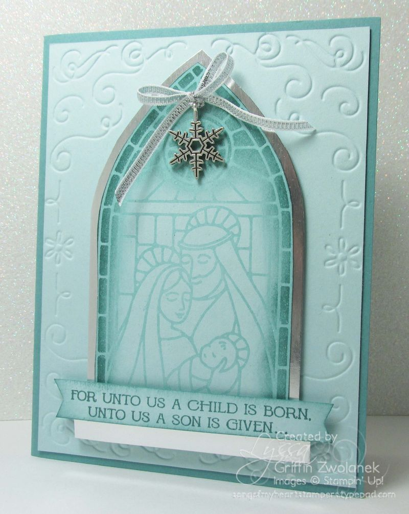 """1/13/2014 Photo Tutorial: Simple """"no-color"""" stained glass window card Gentle Peace, Lost Lagoon, Soft Sky"""