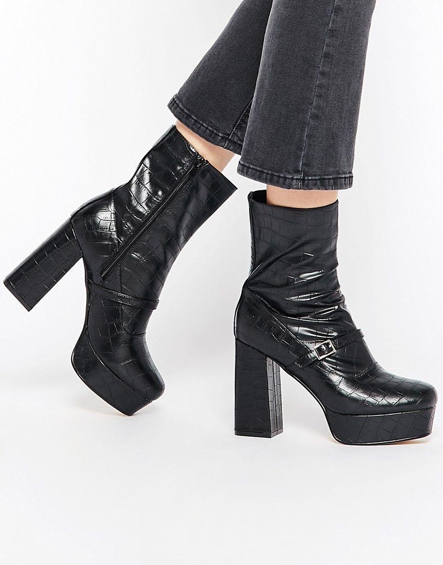 Super fede Truffle Collection Trudy Platform Heeled Ankle Boots - Black croc pu Truffle Collection Sko accessories til Damer til enhver anledning