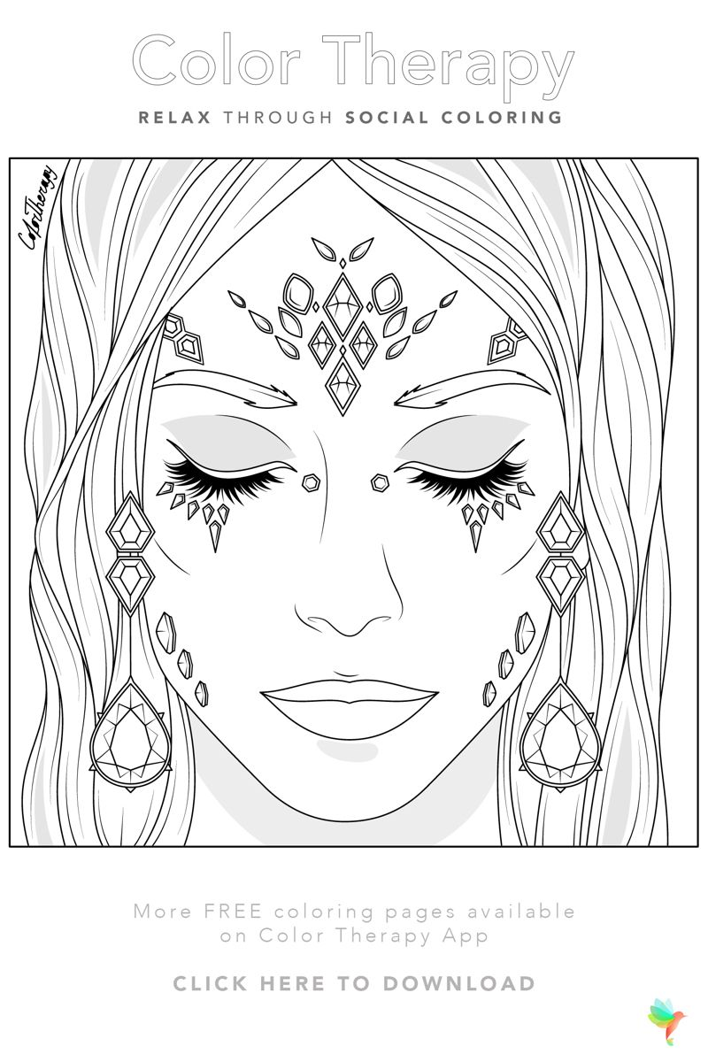 Color Therapy Gift Of The Day Free Coloring Template People Coloring Pages Color Therapy Coloring Pages For Girls