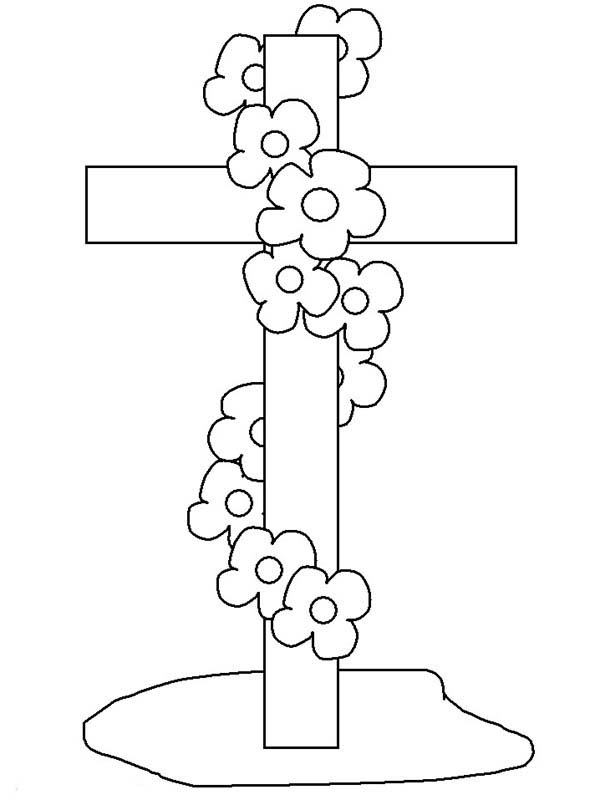 Cross At Funeral Coloring Page Coloring Sun Cross Coloring Page Easter Coloring Pages Kids Printable Coloring Pages