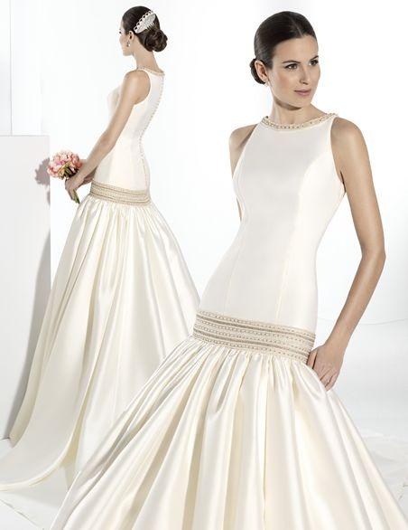 Vestido de novia con talle a la cadera escote de barco y sisa ...