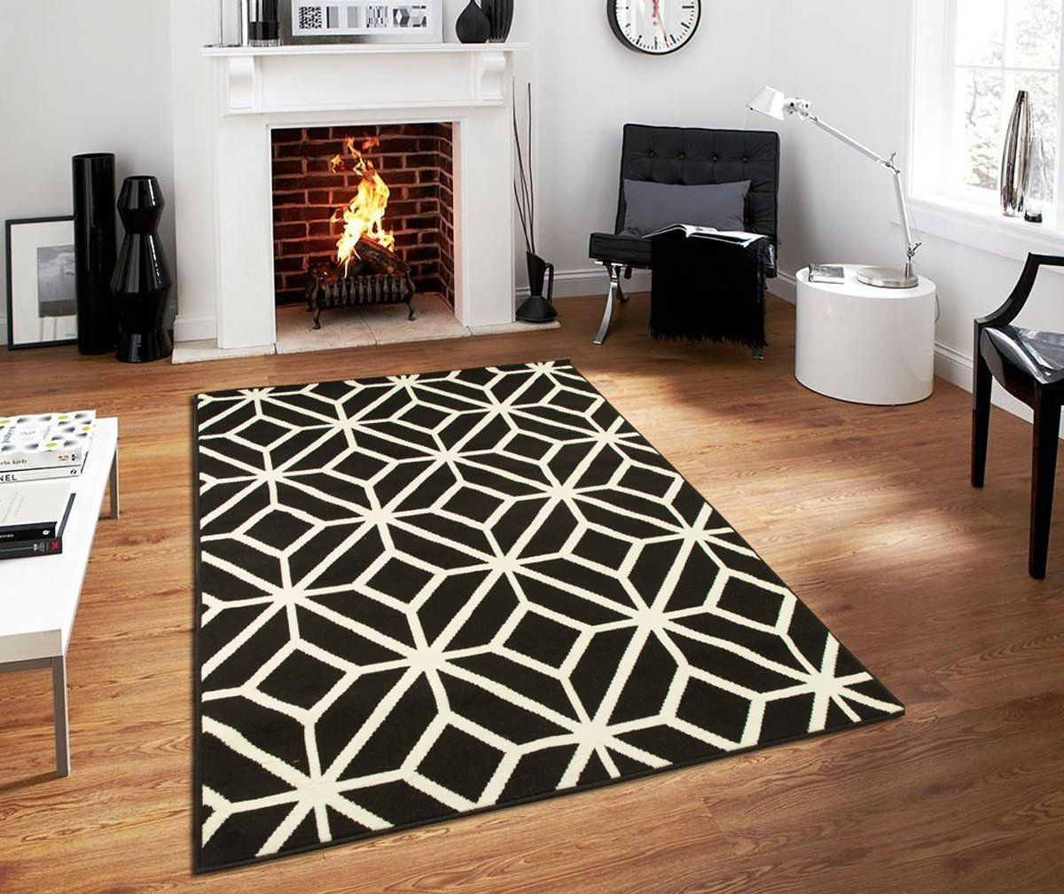 Black Moroccan Trellis 8x11 Area Rug Carpet Abstract Large