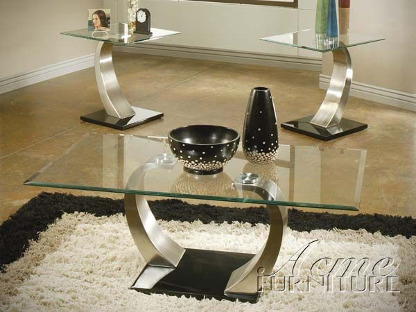camille chrome glass top coffee/end table set 18414 setacme