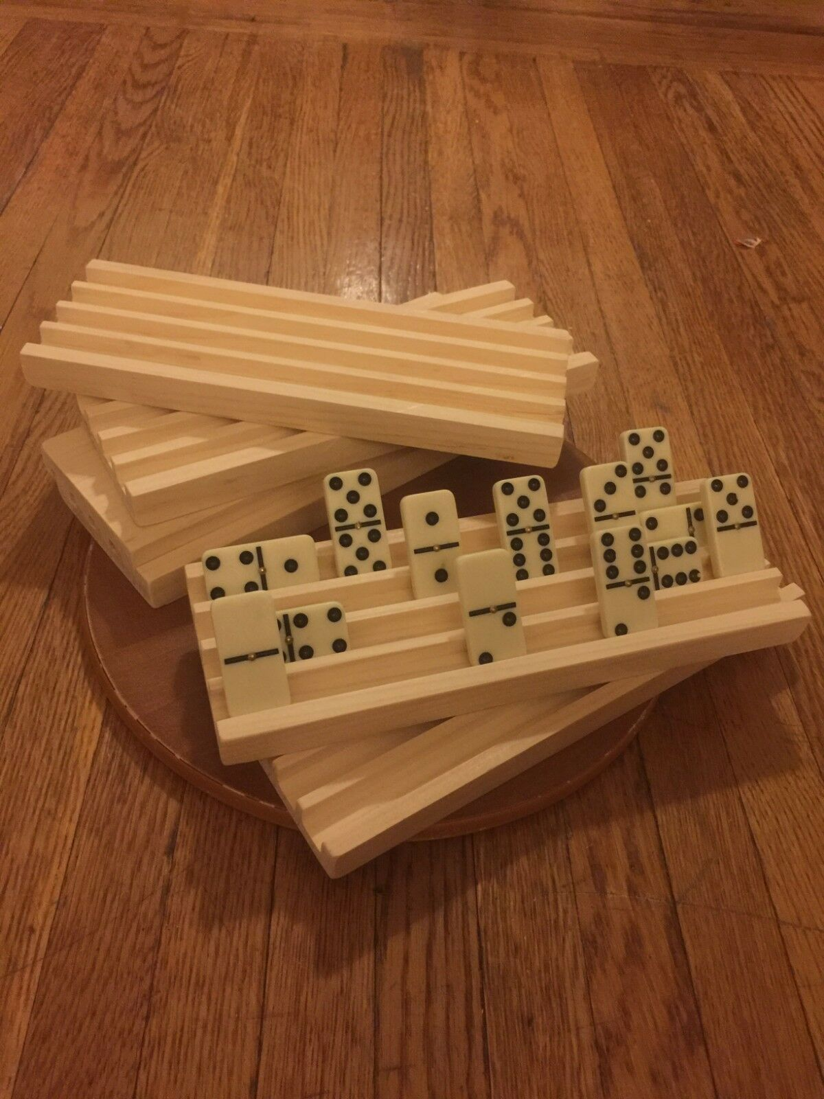 4 HANDMADE WOODEN DOMINO HOLDERS MEXICAN TRAIN 4 ROWS ON