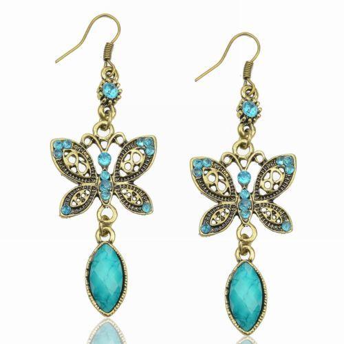 Turquoise Butterfly Diamante Teardrop CZ Drop Resin Eardrop Dangle Hook Earrings   eBay