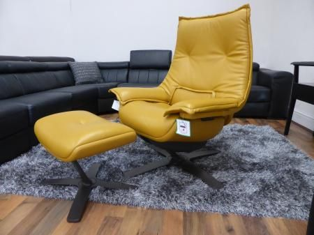 Awesome Natuzzi Revive Swivel Chair Footstool Deep Gold Leather Short Links Chair Design For Home Short Linksinfo