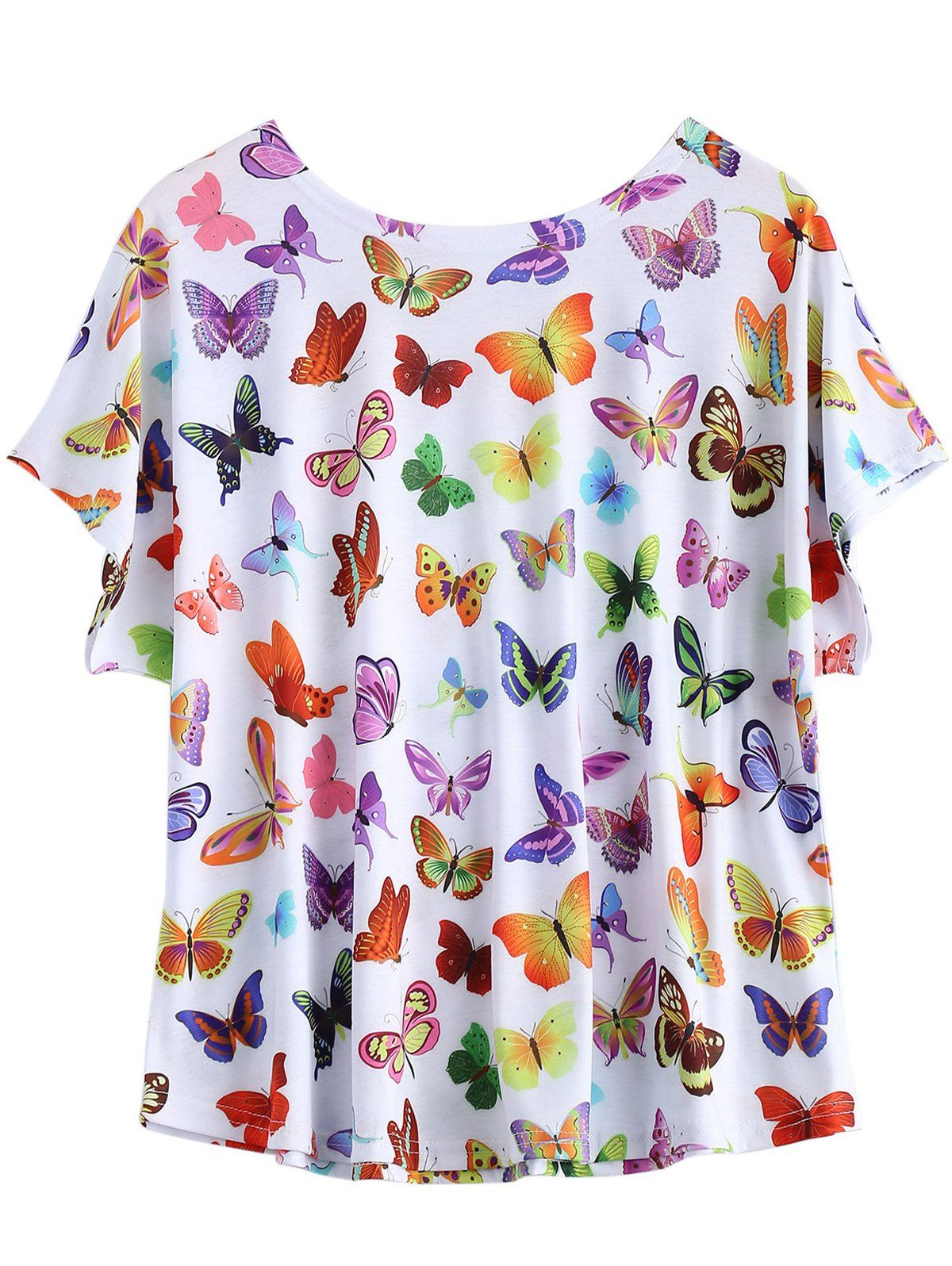 Casual Plus Size Butterfly Print T Shirt Plus Size