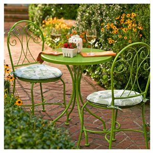 Malibu Patio Collection 3 Pc Bistro Set Wrought Iron Lime Green Model S11s175y L True Value Hardware S Bistro Set Patio Furniture Makeover Garden Chairs