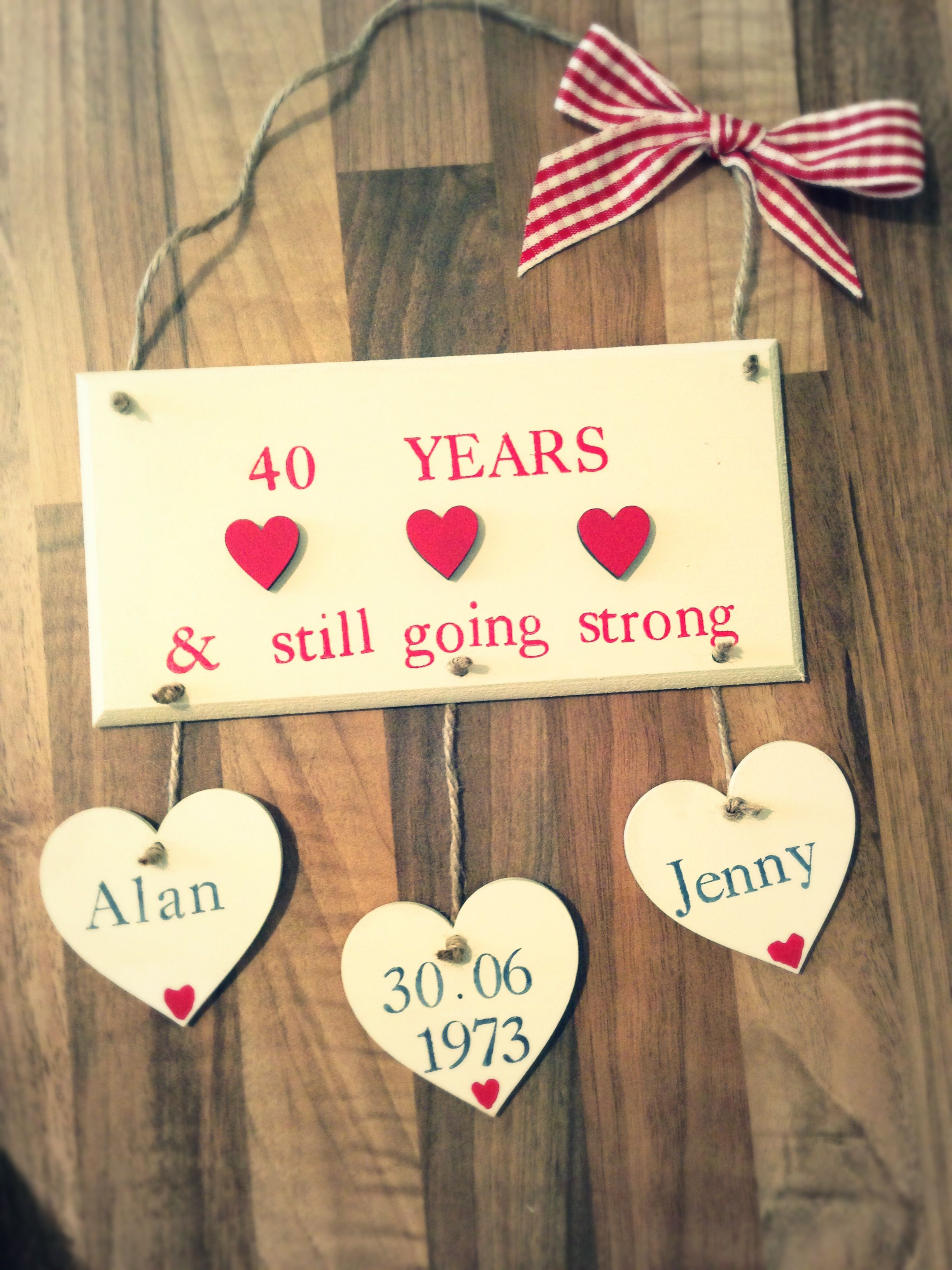 Ruby Wedding Anniversary Plaque Made By Evie S Attic Find Us On