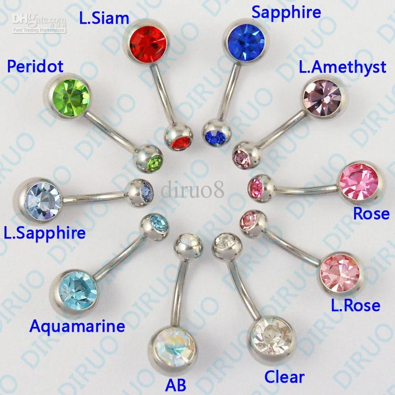 2018 Whole Body Piercing Jewelry Crystal Belly Ring Navel Bar Mix Color From Diruo8 20 03 Dhgate Com