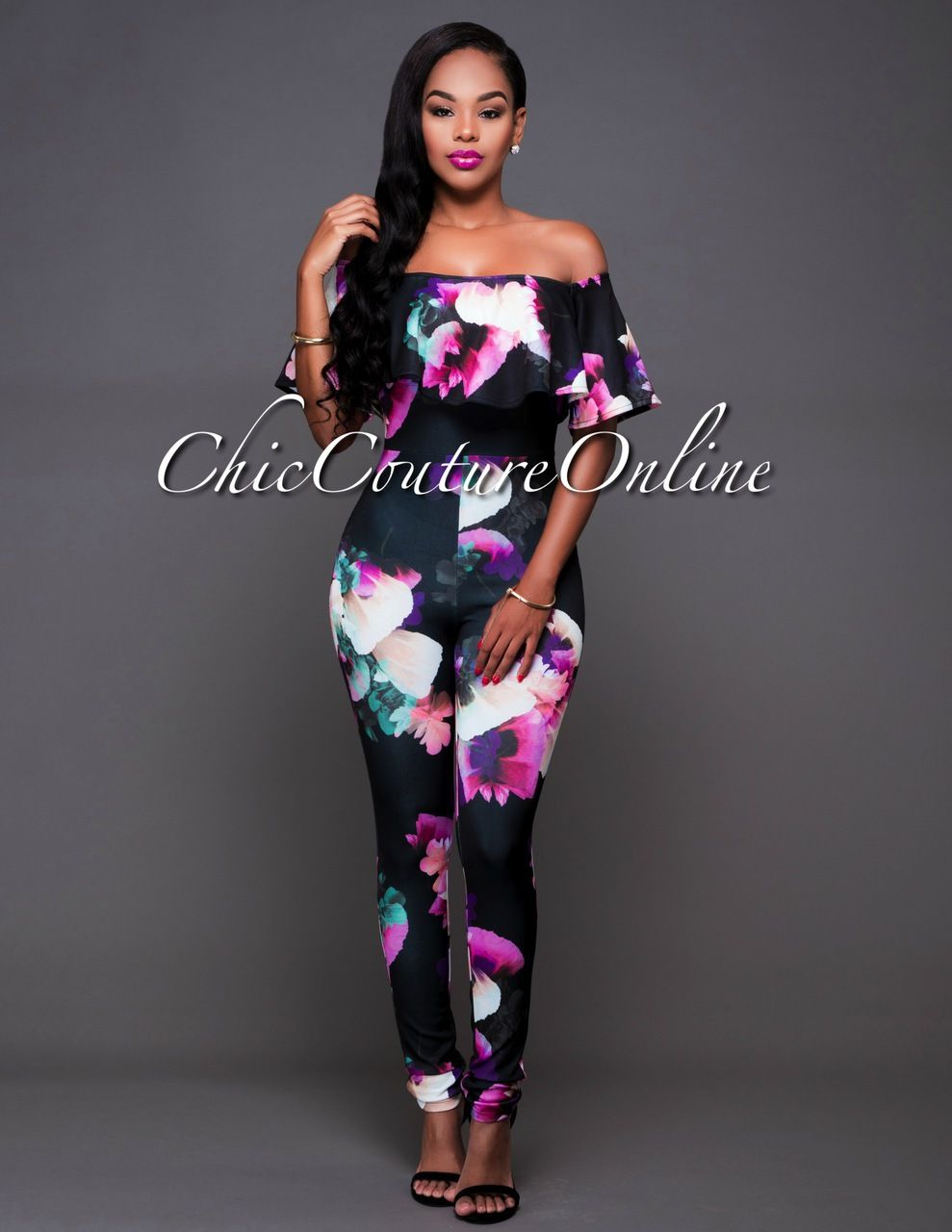 8e0fff15529d Black One Shoulder Floral Embroidered Ruffled Sexy Wide Leg Jumpsuit