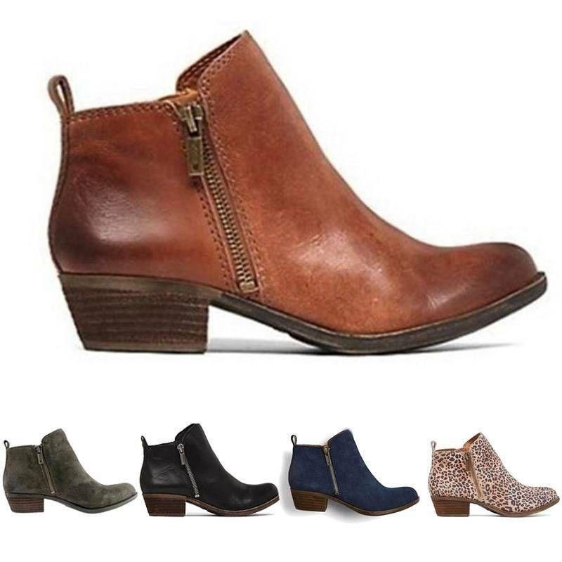 Damen Klobig Blockabsatz Schuhe Stiefel Stiefeletten Winter Chelsea Ankle Boots