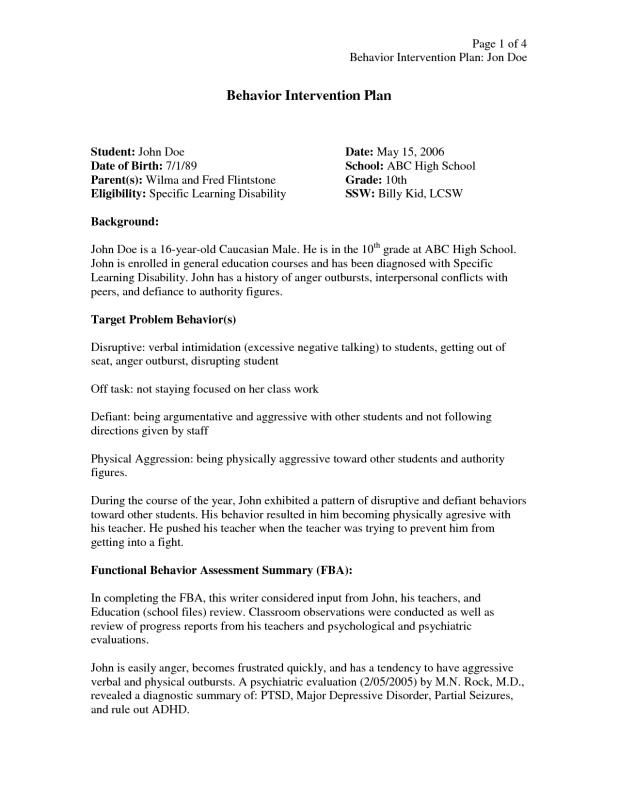 Behavior Intervention Plan Example template Pinterest Behavior - general evaluation template