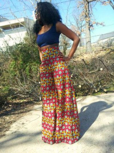 #Fashion #Trend: Spring and summer trends. Wide leg pants. -TMC~~Wide leg African print pants via Etsy