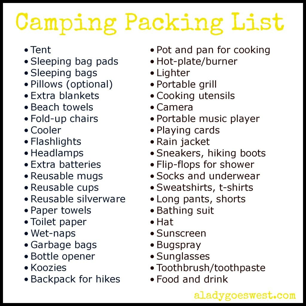 Camping Packing List via A Lady Goes West. What to bring #camping ...