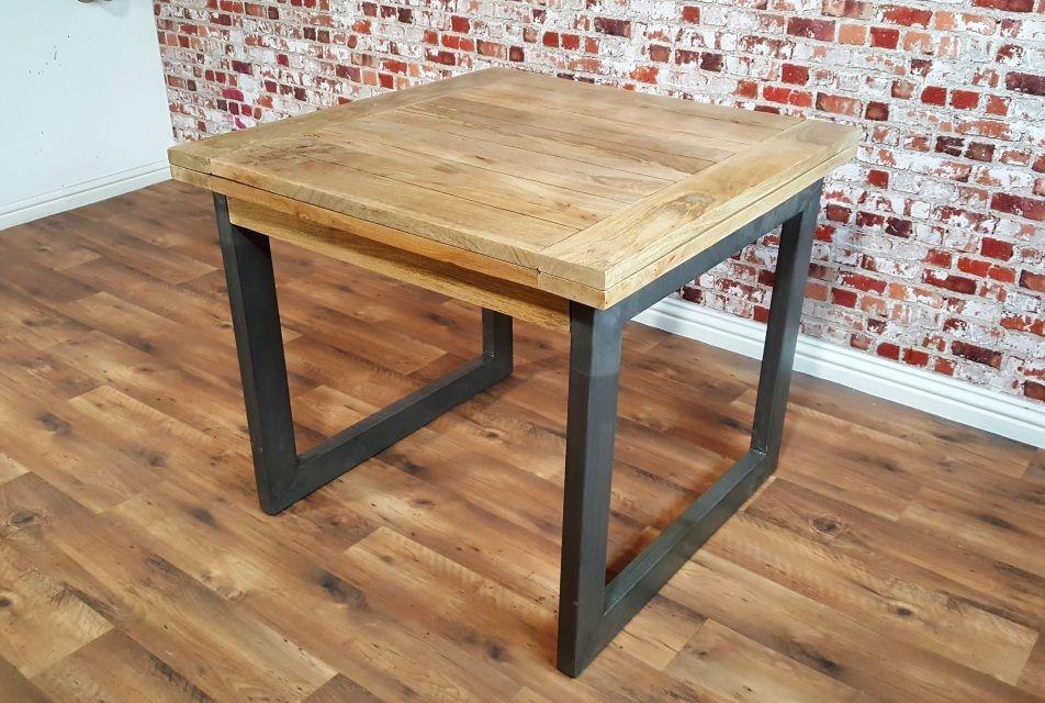 Extending Industrial Rustic Dining Table Drop Leaf Hardwood Finish