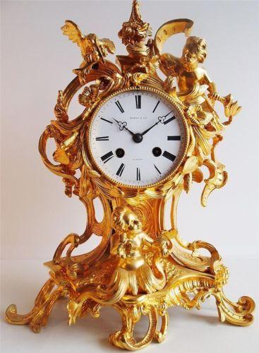 Antique Clock 1800 S French Solid Gold Gilt Ormolu Bronze
