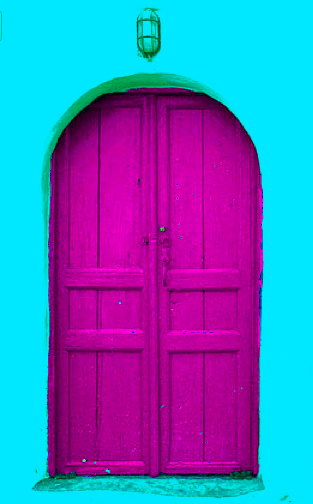 Magenta door! or should I say cyan wall? I can't decide, so I guess I will stick with MAGENTA! #printer's #conundrum More