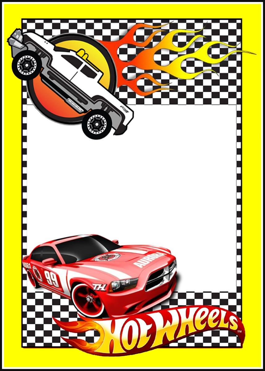 Cars Invitation Card Template Free: Printable Hot Wheels Invitation Card