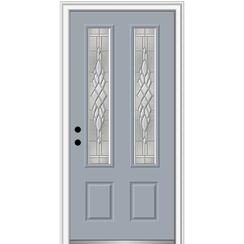 Grace Painted Both Sides Different 2 3 4 Lite 2 Panel Fiberglass Prehung Front Entry Door On 6 9 16 Frame Front Entry Doors Single Entry Doors Entry Doors