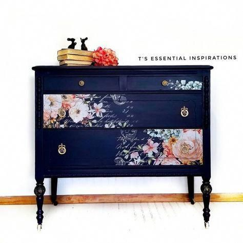 redesignwithprima on Instagram The blue with pink flowers is a perfect match  she added pieces of the Rose Celebration Decor Transferto the drawer fronts and the way
