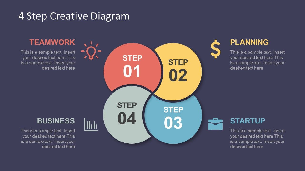 infographic template of 4 step diagram [ 1280 x 720 Pixel ]