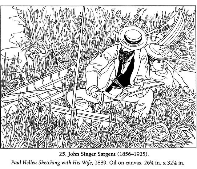 Color Your Own Famous American Paintings coloring page John Singer ...