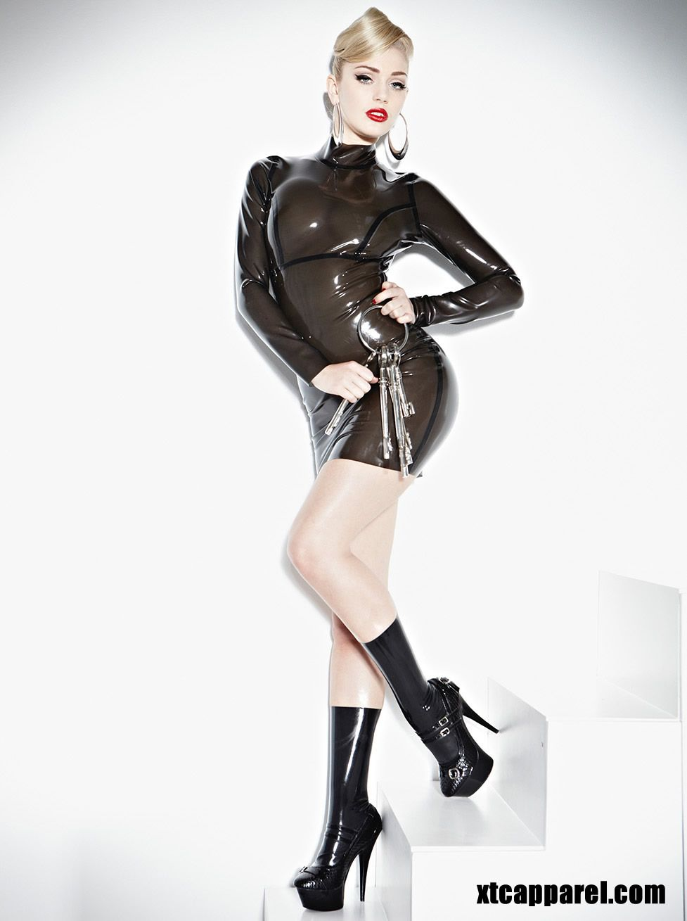 e064eff24 Cause a scene in this smouldering hot semi-transparent long sleeve latex  Smoke Screen Seducer Dress which is thick seamed